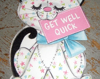 Vintage Cards, Get Well, Cat, Pink, Hallmark, Greeting Card, Unused