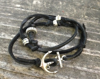 Black Leather Wrap Around Bracelet with Silver Anchor Charm Hook