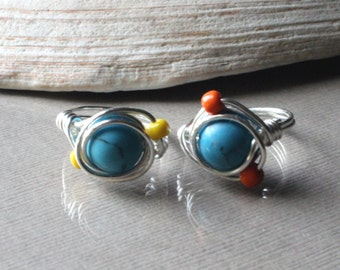 Funky Boho Turquoise Summer Ring- Wirewrapped With Yellow Or Orange Color Choices