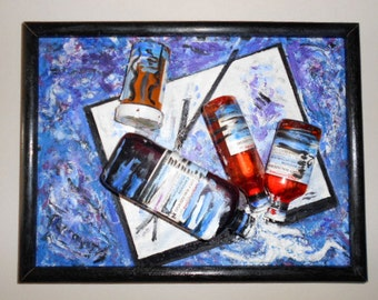 Fine Art-Mixed Media -Original Oil Painting--Unique-Home Decor-Modern-Wall Decor- Blue-Pharmacy