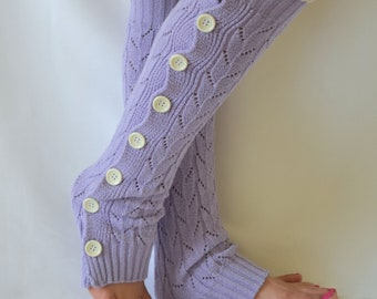 Lavender slouchy button lace leg warmers knit lace leg warmers boot socks-Birthday gifts-Women's acessory-Fashion socks-Accessory