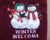 Duo Snowman Welcoming Winter  Burgundy Hand Towel