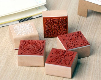 Lace Stamp Set - Wooden Rubber Stamps - Diary Stamps - 6 pcs in