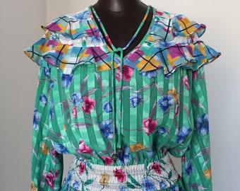 SALE vntg DIANE FRES gypsy bohemian floral print ruffled dress / m / l