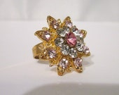 Rhinestone Ring Vintage Pink Flower-Engagement Ring- Adjustable Band-Womens Jewelry-Jewellery-Teen Girls Jewelry