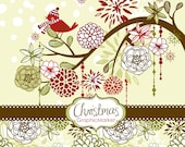Instant Download Christmas Digital Clip Art, Card Making, bird, Scrapbooking, ornaments, digital papers, Personal and Commercial Use