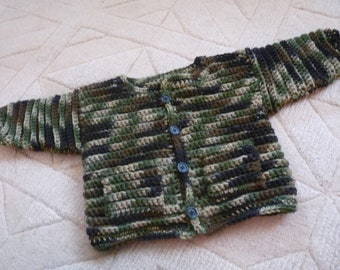 Baby crochet camouflage sweater jacket hand crocheted with 2 pockets and button up front, baby hunting clothes
