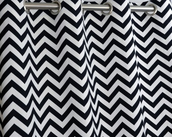 Black White Modern Zig Zag Chevron Contemporary Curtains - Grommet - 84 96 108 or 120 Long by 25 or 50 Wide Optional Blackout Cotton Lining