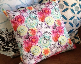 "12""x12"" Accent Pillow - ""Lagoon Blooms"""