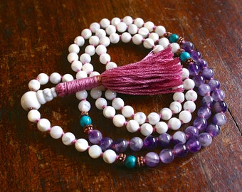 Mother of Pearl Mala Beads Banded Amethyst Turquoise Japa Mala Beads Mantra Meditation Yoga Jewelry Mala Tassel Necklace Knotted Gemstone