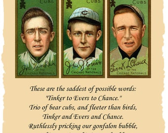 1910 Chicago Cubs Tinker To Evers To Chance Baseball Cards and Poem Famous Double Play Trio