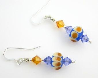 Blue Dangle Earrings, Lampwork Earrings, Beaded  Earrings, Drop Earrings, Fashion Jewelry, Career Wear, Gifts, Valentine Day