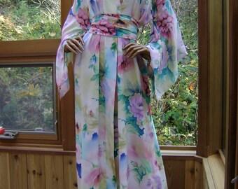Bridal Robe Silk Kimono Lingerie Kimono Robe in Floral Silk Crepe De Chine