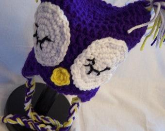 Owl Earflap Hat - Newborn