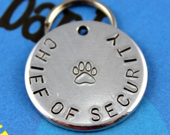 Dog Name Tag - Handstamped Aluminum Metal Pet Tag - Personalized - Chief of Security