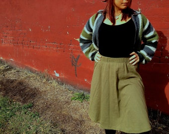 Gypsy Olive Green Cotton Knit Skirt Made in Greece M/L NWT