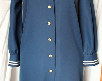 Vintage 70s Sailor Dress Navy Nautical with White Trim Anchor Buttons Shift Dress Sz 14