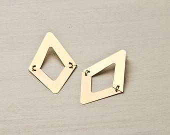 Rhombus earrings in gold, Geometric earrings, Geometric jewelry, Dangle earrings