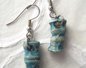 jewelry earrings textural turquoise 'bones'  made in clay