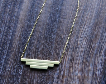 Trinity squared - handmade brass pipe necklace