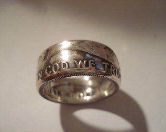 Benjamin Franklin Half Dollar Coin Ring 90% Silver