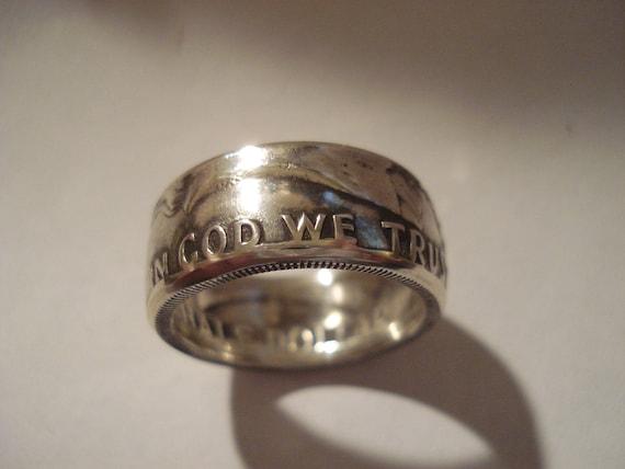 Benjamin Franklin Half Dollar Coin Ring 90% Silver