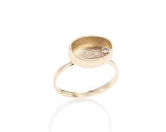 Gold ring - Diamond ring, Modern jewelry, Gold jewelry, Uniqe ring, Modern ring