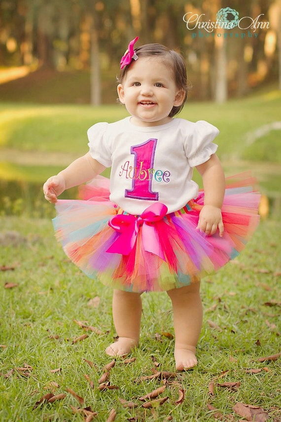 PERSONALIZED Pink Rainbow Birthday Number Sewn Tutu Outfit