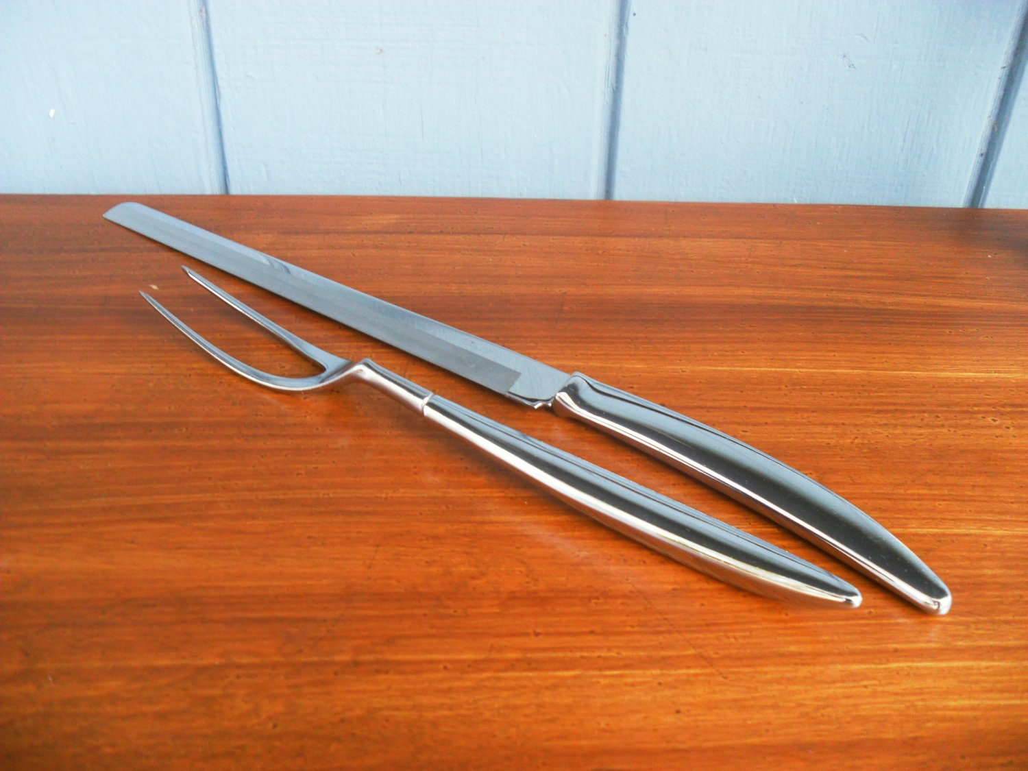 Mid century modern stainless steel carving set by carvel hall