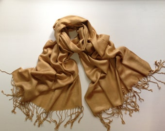 gold pashmina scarf, camel pashmina shawl, gold bridesmaid shawl, gold bridal wrap, gold wedding wrap, gold scarf, gold shawl