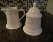 Pfaltzgraff Wyndham Cream and Sugar Set  /  Cream and Sugar Set  /  Shabby Chic Creamer  /  Floral Cream and Sugar