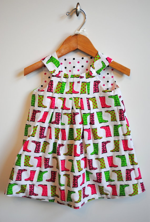 Reversible Jumper Dress A-Line Rain Boots Galoshes Polka Dots Toddler Girl Pink Green Bright Colorful Cheerful Outfit Size 3T