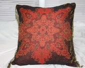 Decorative Wool Pillow Cover, Brown Red Fringe Throw