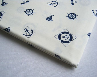 Cotton Fabric White Navy Marine, ship, wheel, anchor, flag unique fabric, Marine003, Quilt, 100% cotton, Baby shower, Living room curtain