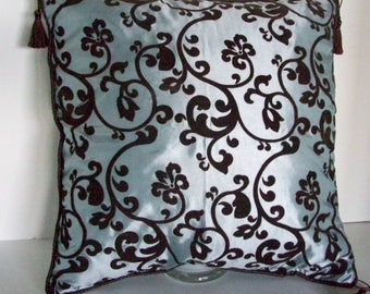 DECORATIVE PILLOW COVER in Velvety Brown and Silvery Blue, Home Decor, Home and Living, Tassels,