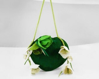 Felted Bag Wedding Handbag NunoFelt Purse Nunofelt Bag Nuno felt Silk fairy jade olive floral fantasy shoulder bag Fiber Art boho