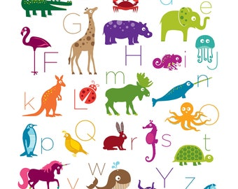 11x14 Animal Alphabet Poster Digital Print