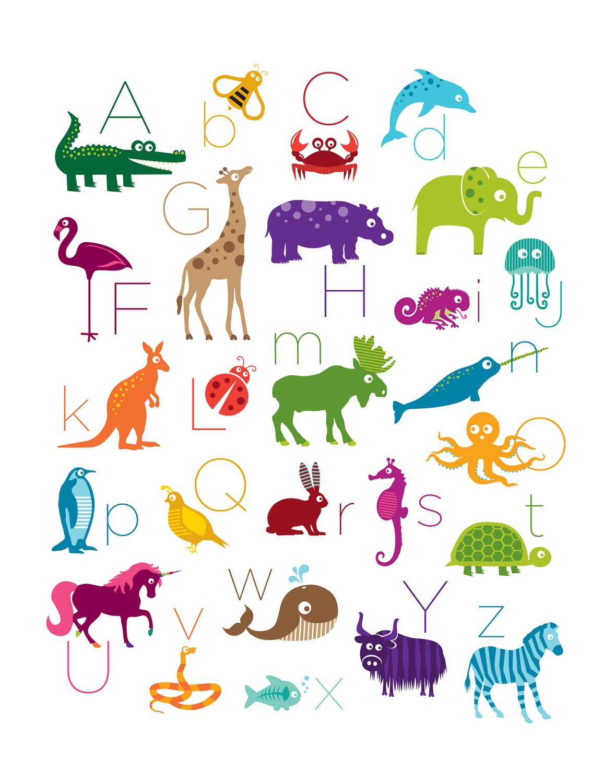 Wall Stickers Dinosaurs 11x14 Animal Alphabet Poster Digital Print