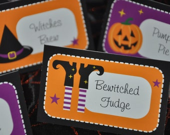 Halloween Party buffet table cards / treat bag toppers / candy jar labels / name place cards PDF Printable party decoration TEXT EDITABLE