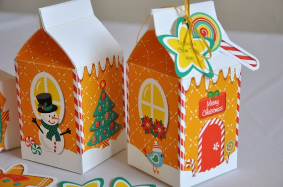 Christmas holiday gingerbread house milk carton treat gift for Christmas crafts with milk cartons