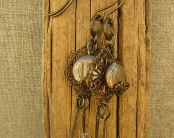Bohemian Bronze Coin Pearl & Crystal Earrings