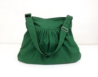 Cotton bag Canvas Bag Diaper bag Shoulder bag Hobo bag Tote bag Messenger bag Purse Pleated bag  Green Forest  Lily2
