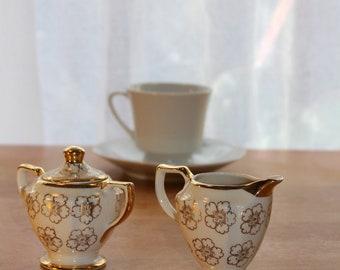 Miniature Kingwood China Gold Flowered Sugar and Creamer