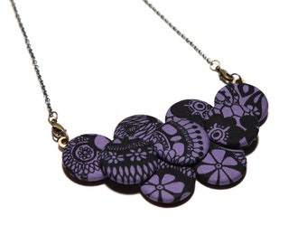 Pen & Ink Print Statement Necklace in Periwinkle and Black