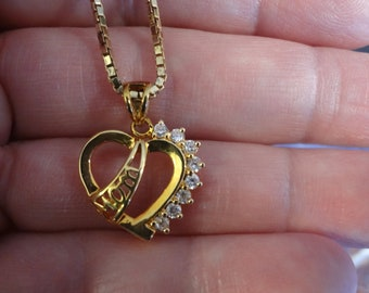 Gold Heart Necklace Diamond 925 Sterling Silver Vermeil 20 Inch Mothers Day  In Law MOM Birthday Gift