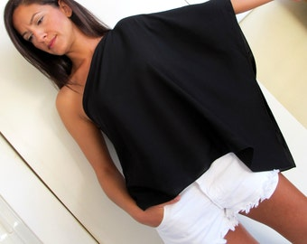 One Shoulder Short Tunic, in black or white. Top, Blouse.