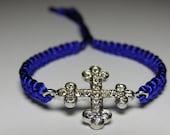 Gothic cross bracelet with rhinestones and macrame cord