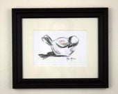 Framed Charcoal Bird Print, 8x10 acid free paper, ready to hang, ceramic bird, charcoal painting, charcoal drawing print, modern art