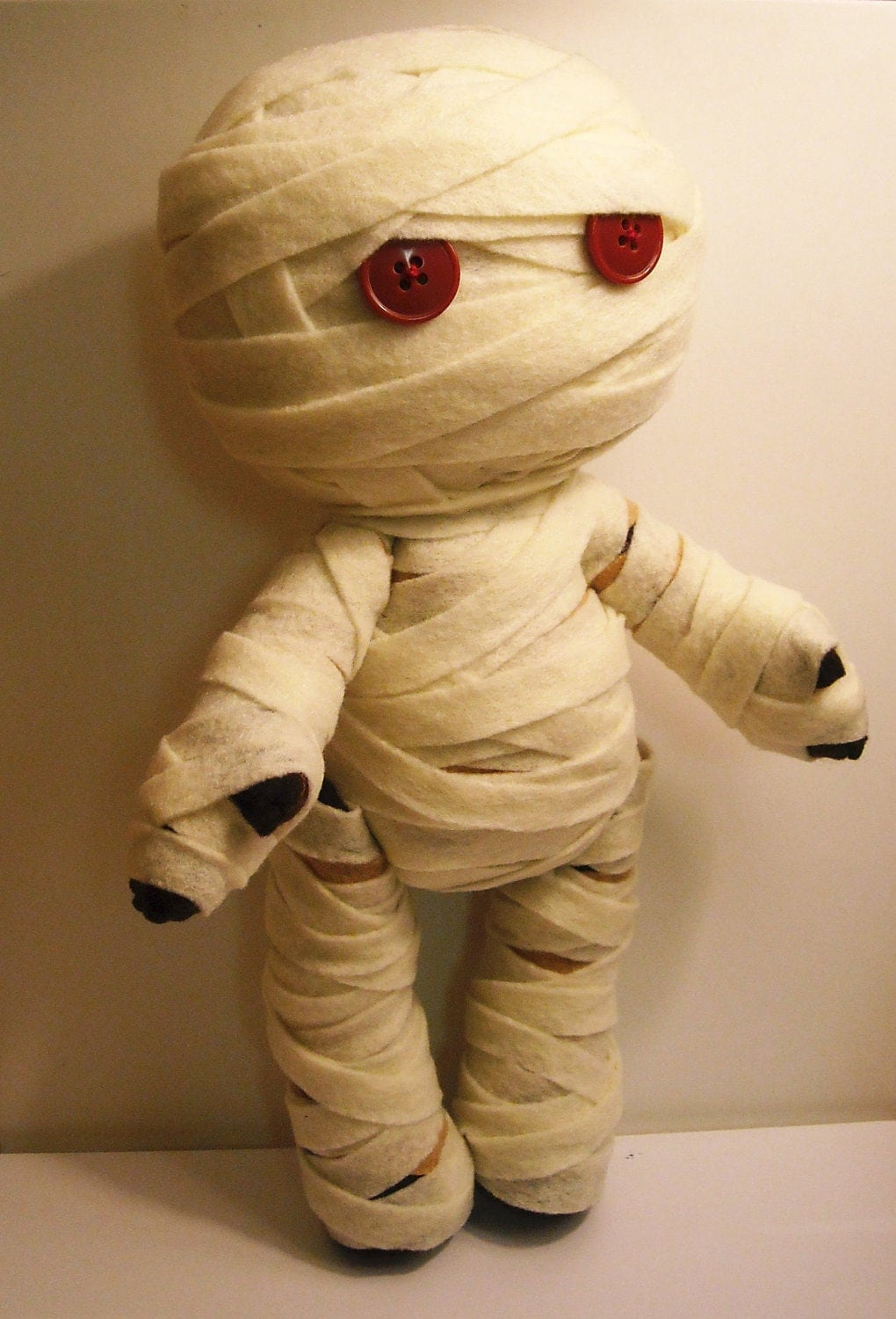 Toys For Halloween : Felt mummy halloween inspired custom plush stuffed rag doll