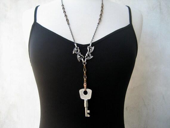 Vintage Key Necklace - Copper - Silver - Long - Steampunk - Edwardian - Hardware Jewelry - Piece Lust